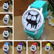 Fashion Silicone Watch Band Cat Pattern Round Dial Quartz Watch