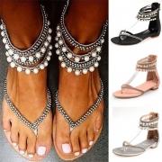 Sandalias con perlas y tacón plano