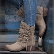 Fashion Solid Color Square Heel Round Toe Boots Booties