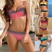 Sexy Bikini de Push-up con Estampado de Color Gradiente con Relleno sin Aro + Braga de Talle Bajo
