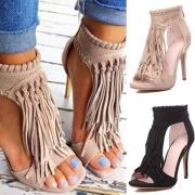 Sandalías de Tacón Alto con Flecos en Ante Sintético