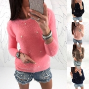 Suéter con Cuenta de Escote Redondo Manga Larga