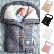 Fashion Solid Color Plush Lining Knit Sleeping Bag for Babies
