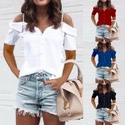 Sexy Off-shoulder Short Sleeve Solid Color Sling Blouse
