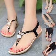 Sandalías de Tira Fina de Pulsera Elástico con Strass en Forma de Búho