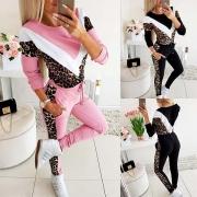 Chándal con Estampado de Leopardo de Sudadera + Pants de Talle Alto