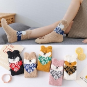 Cute Cartoon Printed Warm Plush Socks  2 pairs/set