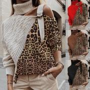 Sexy Off-shoulder Long Sleeve Turtleneck Leopard Spliced Sweater