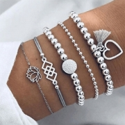 Retro Style Heart Tassel Pendant Beaded Bracelet Set 5 pcs/Set