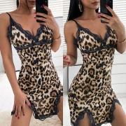 Sexy Camisión Estampado de Leopardo de Tirantes Finos con Detalle de Encaje