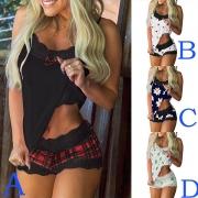 Sexy Pijama de Top de Tirantes + Shorts Estampados con Encaje
