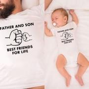 Blusa con Estampado de Letras para Padre e Hijo