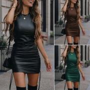 Vestido de Cuero PU a la Moda, un Solo Color, Cuello Redondo sin Mangas (medidas algo pequeñas)