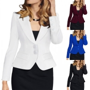 OL Style Long Sleeve Notched Lapel Slim Fit Blazer