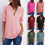 Fashion Solid Color Long Sleeve Zipper V-neck Chiffon Blouse