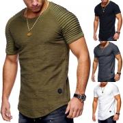 Blusa Para Hombre de Escote Redondo Manga Corta con Detalles de Costillas
