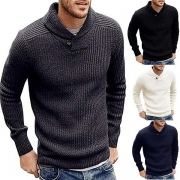 Fashion Solid Color Long Sleeve Cowl Neck Man's Knitted Sweater