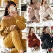 Sexy Off-shoulder Long Sleeve Sweater + Knit Pants Two-piece Set