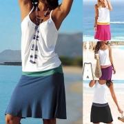 Cami Vestido Casual de Bicolor e V Cuello Espalda Descubierta