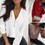 Fashion Solid Color Long Sleeve V-neck Blouse