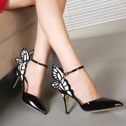 Zapatillas Elegantes de Tacón Fino con Mariposa Decorativa de Puntera Puntiaguda