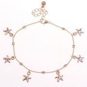 Fashion Alloy Gold Tone Starfishes Anklets
