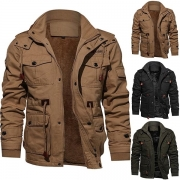 Fashion Solid Color Stand Collar Hooded Man's Jacket