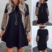 Vestido Casual con Estampado de Leopardo de Manga Larga(Un poco grande)