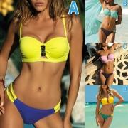 Sexy Bikini con Bandeau con Relleno sin Aro + Brasileño de Talle Bajo