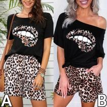 Conjunto de Dos Piezas con Estampado de Leopardo