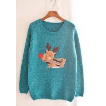 Dulce Loose Warm Vintage Christmas Festive Fawn cuello redondo lindo suéter