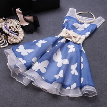 Ladylike azul de la mariposa de la alta cintura Vestido ajustado Tank