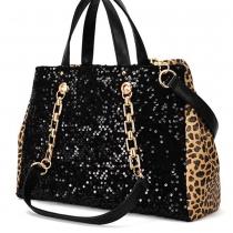 Bolso Negro Lentejuelas Wild Leopard Print correa de la cadena del bolso del monedero