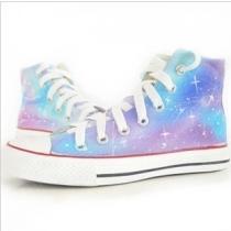 Dibujados a mano de la manera del gradiente del color de la lona zapatos de alta