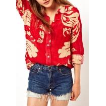 Estilo Europeo Ocio impresión floral de la blusa