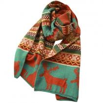 Folk Style Deer figura geométrica impresión bufanda de lana
