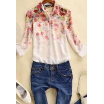 Bohemia dulce del estilo de la impresión floral de la gasa de la blusa