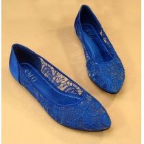 Elegantes sólidos Zapatos Retro color Floral Crochet Lace Pisos
