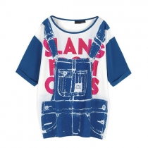 Imprimir la calle-chic Style Red Letter Denim suspensor T-Shirt