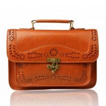 Sólido de muy buen gusto de la vendimia del bolso del color Flores recorte Flap Messenger Bag