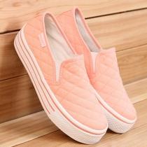 Casual sólidos Zapatos color Chunky único lienzo holgazanes