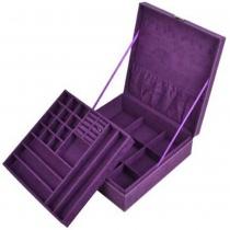 Caja de almacenamiento caja de la joyería púrpura pelusa de dos capas / organizador / pantalla con el bloqueo de más kloud paño de limpieza
