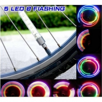 5 LED Modo 7 ciclo de la bici del motor del coche del rayo del neumático rueda de la válvula Cap Alarma LED lámpara de luz de neón