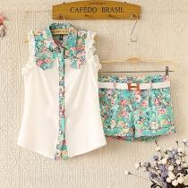Folk Vintage Reiniciar contraste de color con volados y estampado floral Camisa y pantalones cortos Set