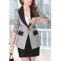 OL Style Contrast Color Slim Fit Long Sleeve Blazer