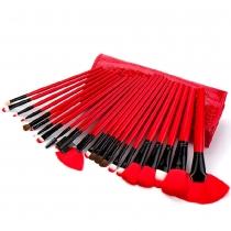 Cosméticos 24 piezas de maquillaje Cepillos cosméticos profesionales Set con estuche Negro Red Bag