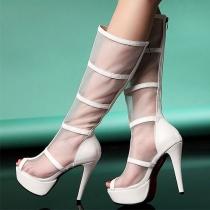 Botas Sandalia peep toe de la calle-chic Malla Rodilla tacón de aguja