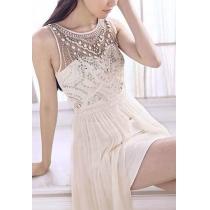 La dama de honor de lentejuelas con cuentas adornado asimétrico Blanco Maxi vestido de noche