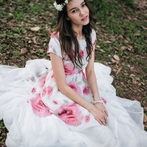 Negrita Rose Impresión 3D Maxi vestido de la flor de manga corta