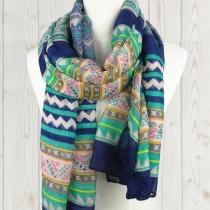 Folk Style Retro Raya ondulada impresión bufanda de la gasa